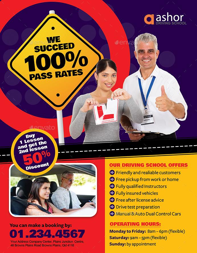 driving school flyer by inddesigner