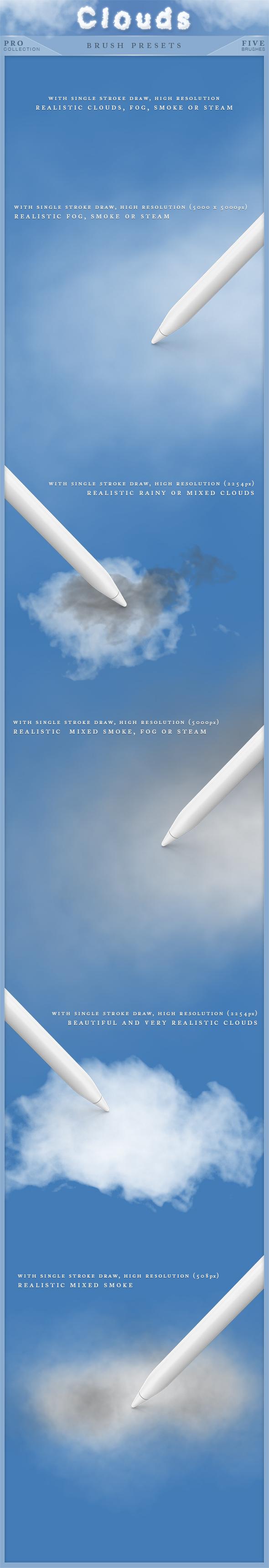 Clouds Brushes Pro - Brushes Photoshop