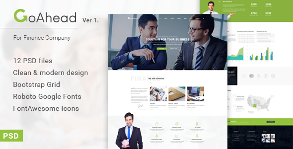 GoAhead – Finance & Business PSD Template
