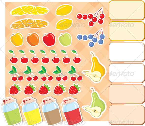 Scrapbook elements with fruits and jam. - Food Objects