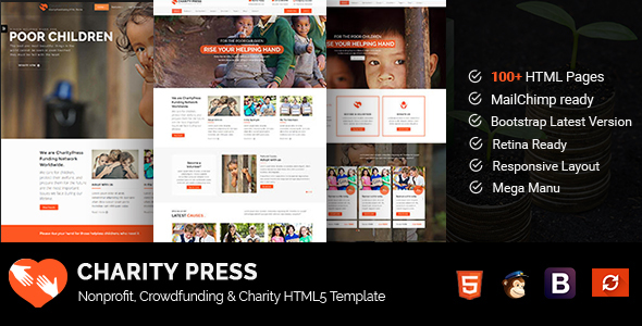 CharityPress – Nonprofit, Crowdfunding & Charity HTML5 Template