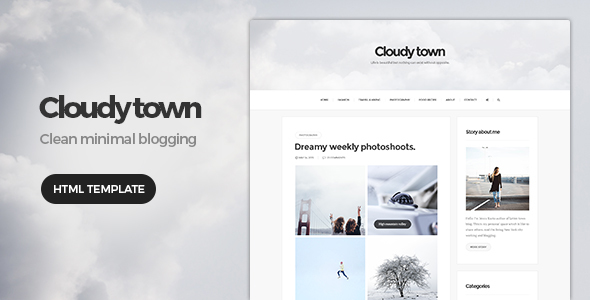 Cloudy Town - Clean Minimal Blog Template - Site Templates