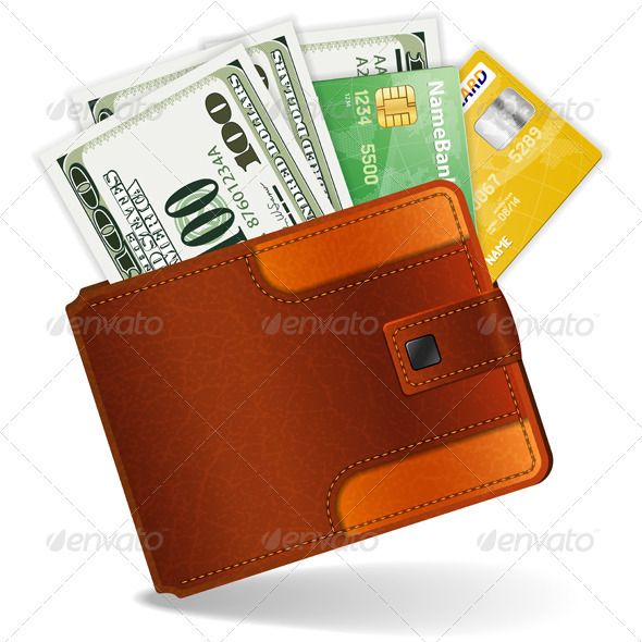 Purse with Dollars and Credit Cards - Concepts Business