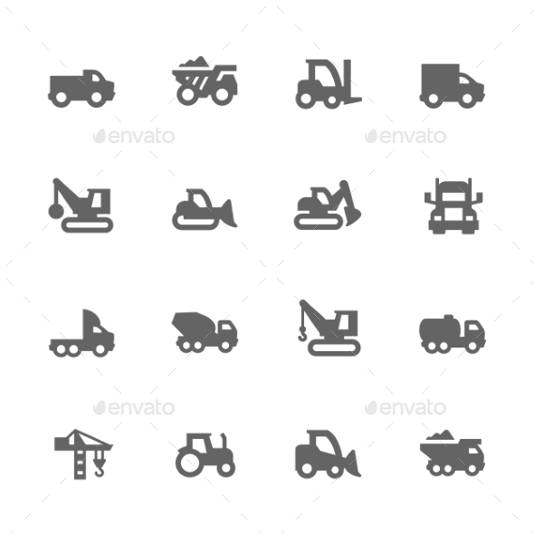 Simple Construction Vehicles Icons - Icons