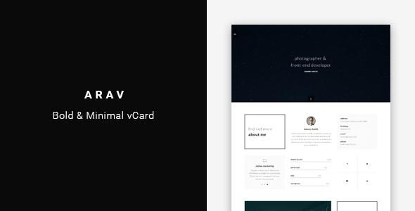 Arav – Minimal Personal vCard Template