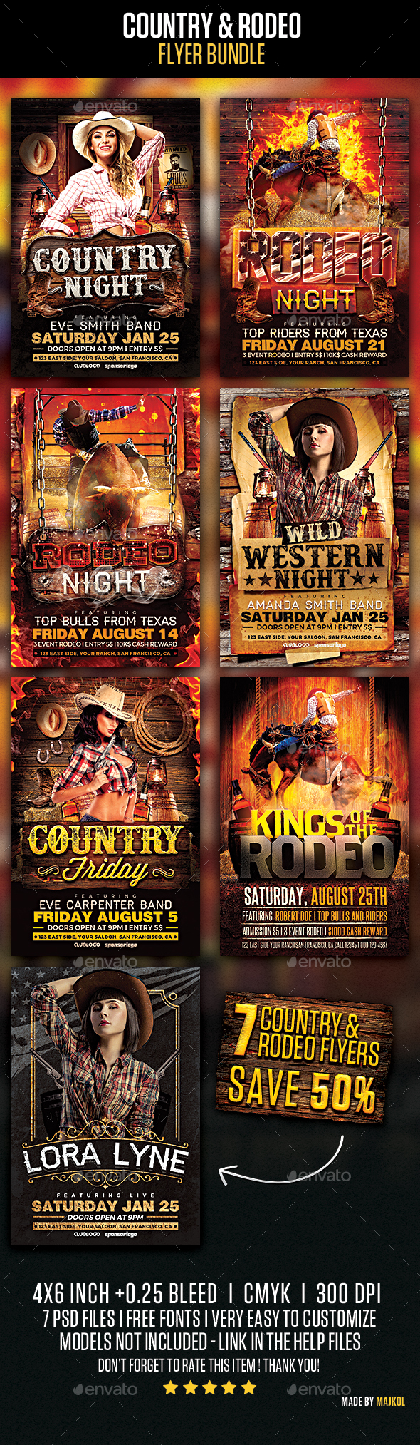 Country and Rodeo Flyer Template Bundle - Events Flyers