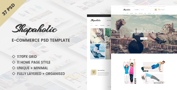 Shopaholic - Clean e-Commerce PSD Template - Retail PSD Templates