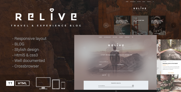 Relive – Traveling Blog HTML