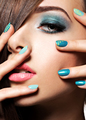 Beautiul fashion woman with turquoise make-up and nails - PhotoDune Item for Sale