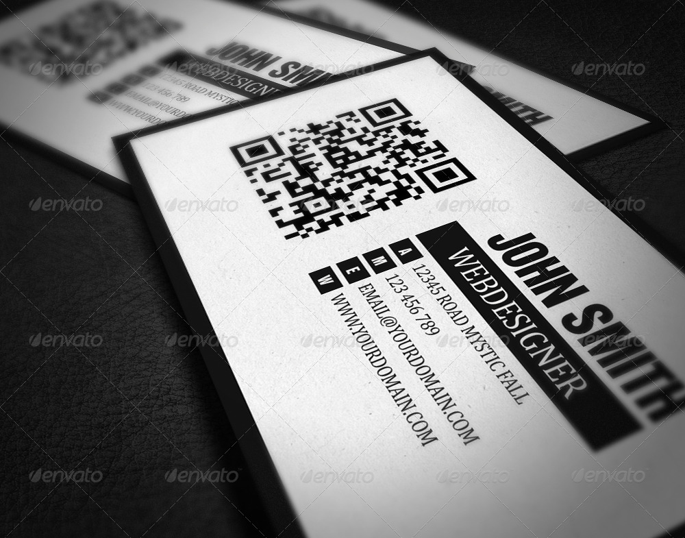 QR Code Minimalistic Business Card by Dutchflow | GraphicRiver