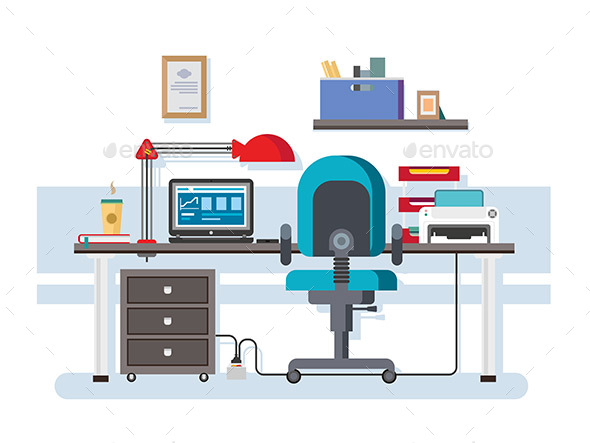 Office Workplace Flat Design - Objects Vectors