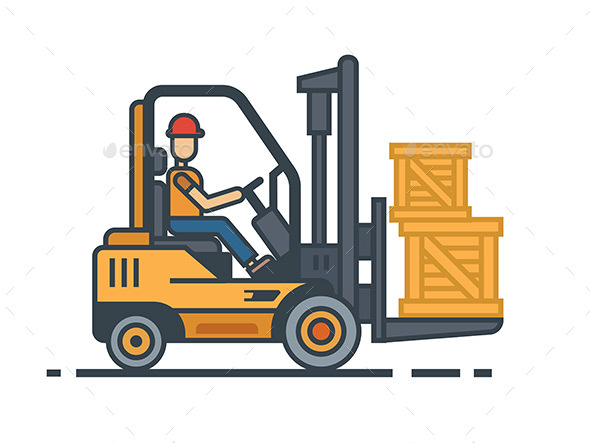 Forklift Transporting Boxes - Objects Vectors