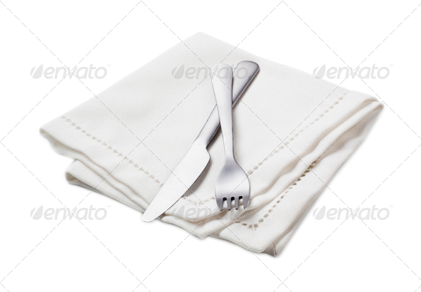 White napkin and cutlery - Stock Photo - Images