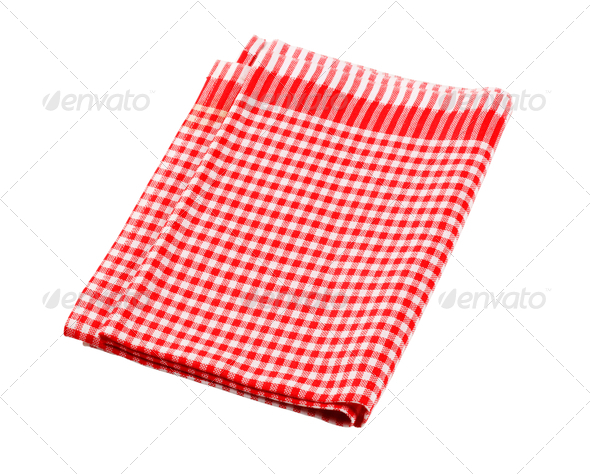 Red and white table linen - Stock Photo - Images