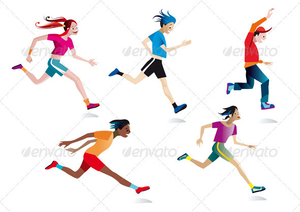 Set Boys And Girls Running - People Characters