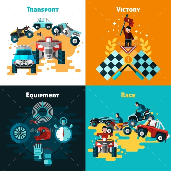Offroad Concept Icons Set  - Sports/Activity Conceptual