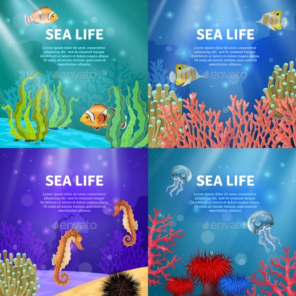 Underwater Landscape Set - Animals Characters