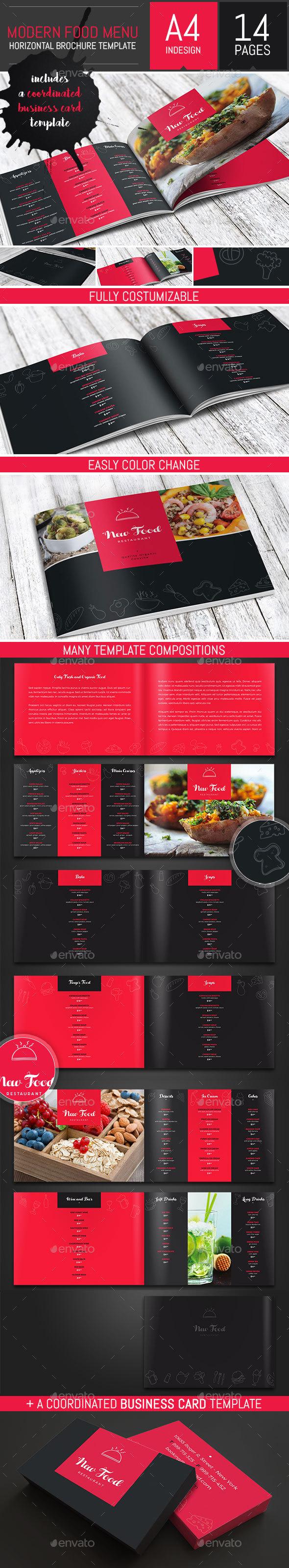 Modern Food Restaurant Menu Brochure / Bi-Fold Template - Food Menus Print Templates
