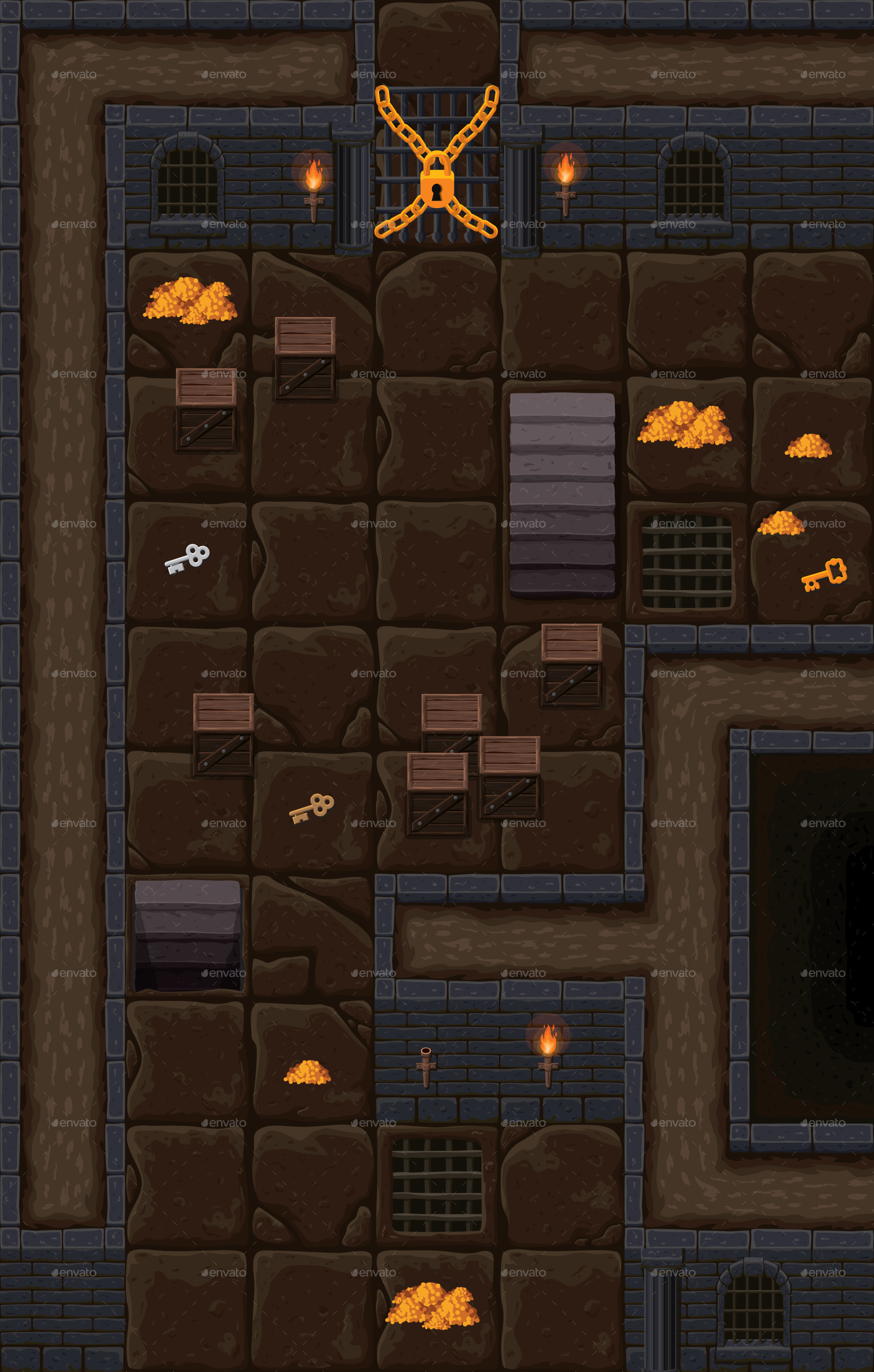 Top Down Dungeon Rpg Tileset By Cobectbhax Graphicriver