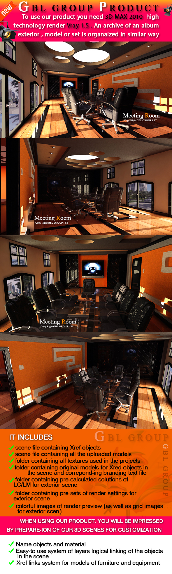 Meeting Room For Bank - 3DOcean Item for Sale
