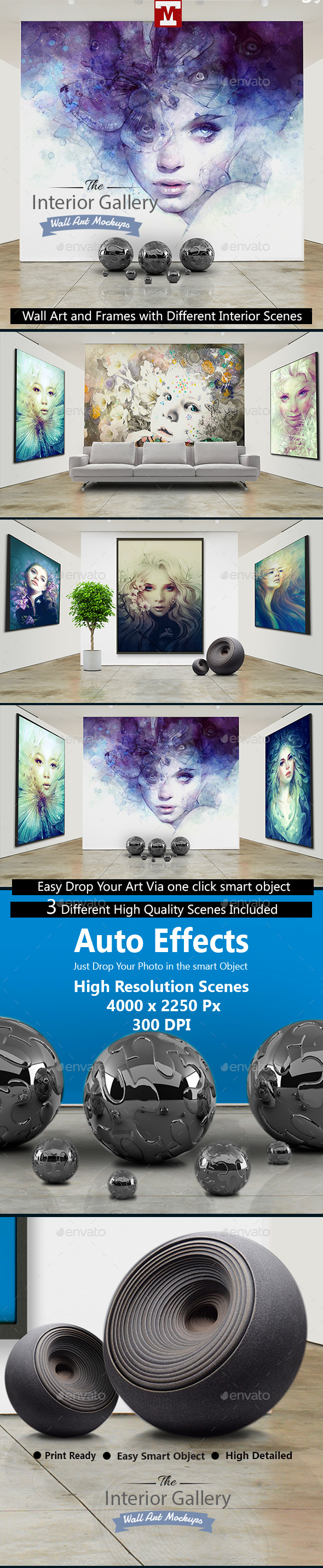 Interior Gallery - Wall Art and Frames Mockups - Miscellaneous Displays
