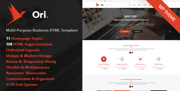 ORI – Multi-Purpose Responsive WordPress Theme for Business