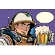 Astronaut With a Mug Of Foaming Beer - GraphicRiver Item for Sale