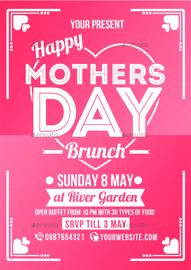 Mothers Day Brunch Flyer Poster By Muhamadiqbalhidayat | Graphicriver