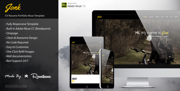 JONK – CV Resume Personal Muse Template