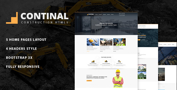 Continal - Construction Business HTML5 Template - Business Corporate