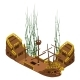 Remains Of Pirate Ship With Algae, Vector Isolated
