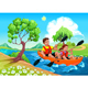 Father and Daughter on the Kayak in the River - GraphicRiver Item for Sale