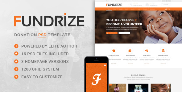 Fundrize – Donation / Charity PSD Template