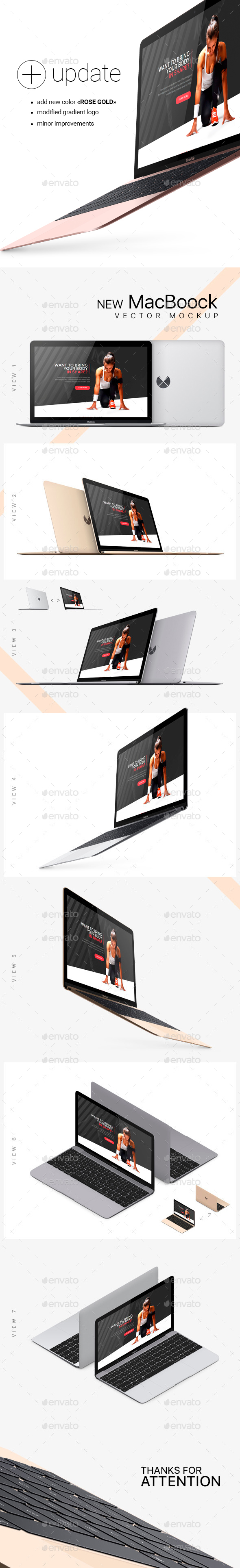 New MacBook Photorealistic Vector Mockup