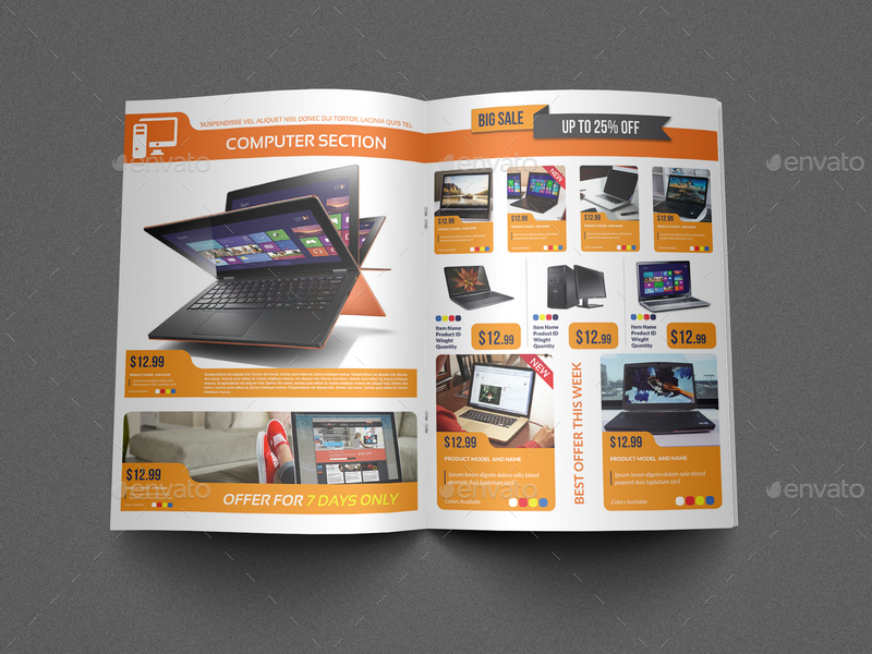 electronic brochure templates - electronics products catalog brochure bundle by owpictures