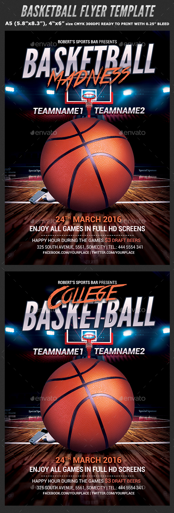 basketball flyer template by hotpin graphicriver. Black Bedroom Furniture Sets. Home Design Ideas