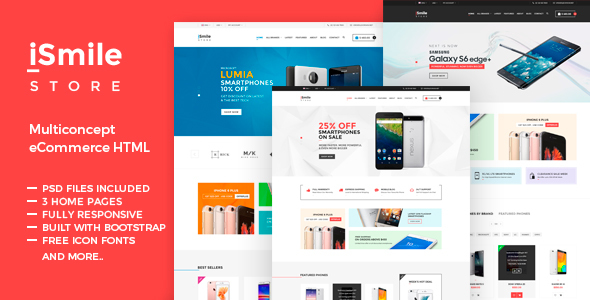 iSmile – Phones Market HTML