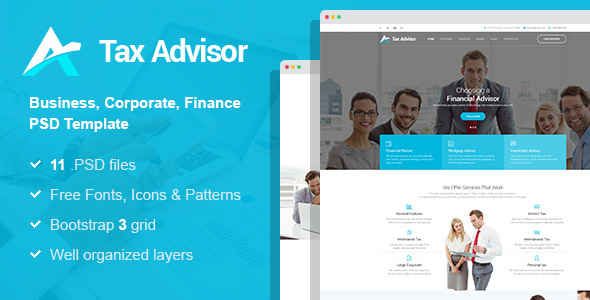 Tax Adviser - Financial Consulting/Attorney PSD Template