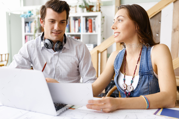 Start-up Team of two young people - Stock Photo - Images