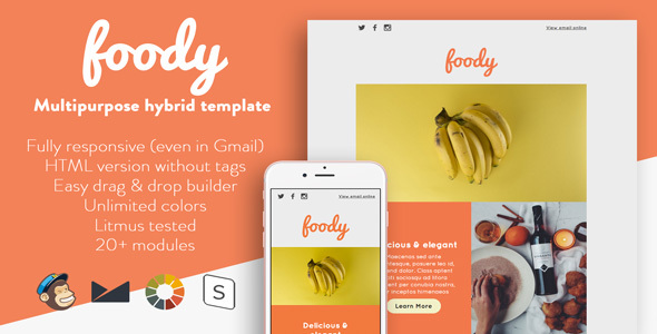 Foody – Responsive Email + StampReady Builder