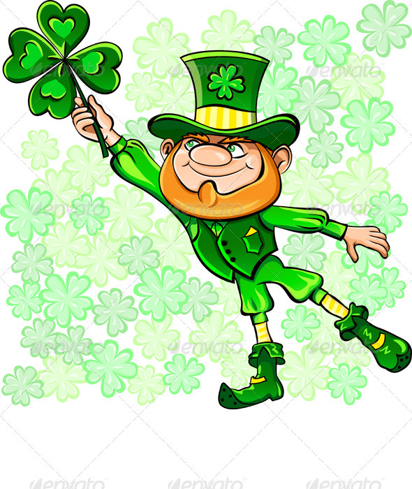 Vector St. Patrick's Day Leprechaun with Clover - Miscellaneous Seasons/Holidays