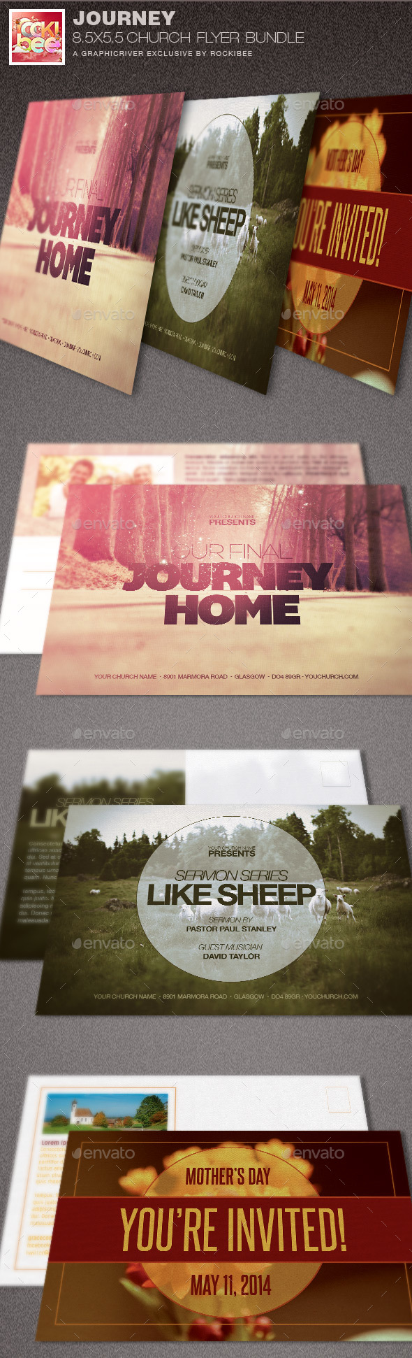 Journey Church Flyer Template Bundle - Church Flyers