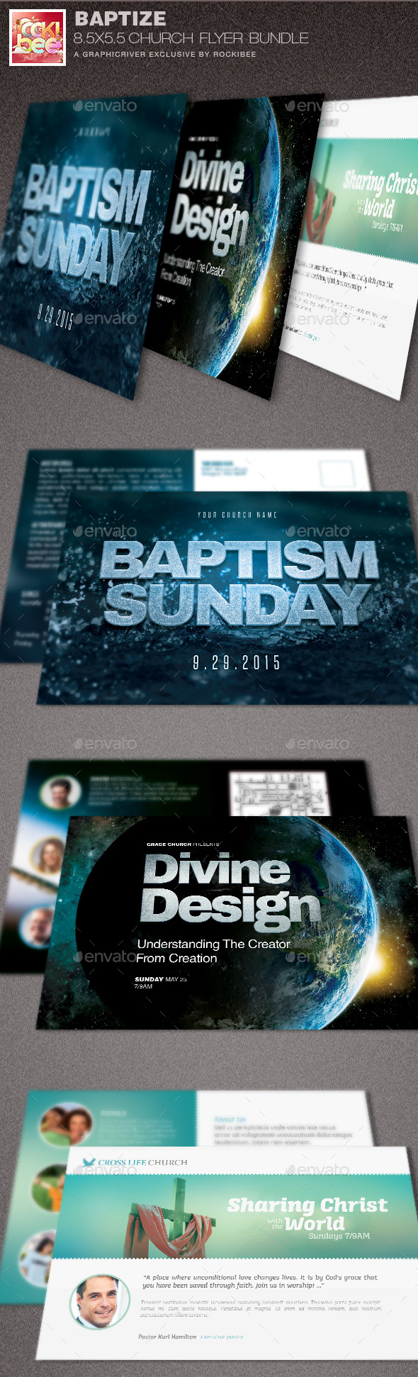 Baptize Church Flyer Template Bundle - Church Flyers