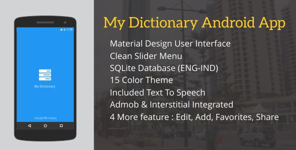 Premium dictionary app template in android.