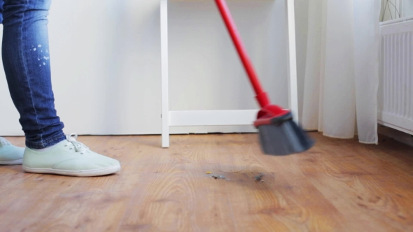 Woman With Broom Cleaning Floor At Home 89 By Dolgachov Videohive