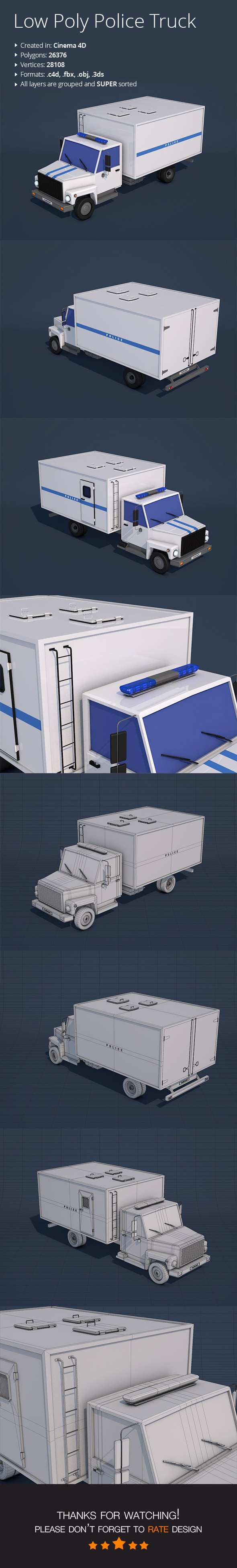 Low Poly Police Truck - 3DOcean Item for Sale