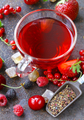 Berry Tea On A Wooden Background