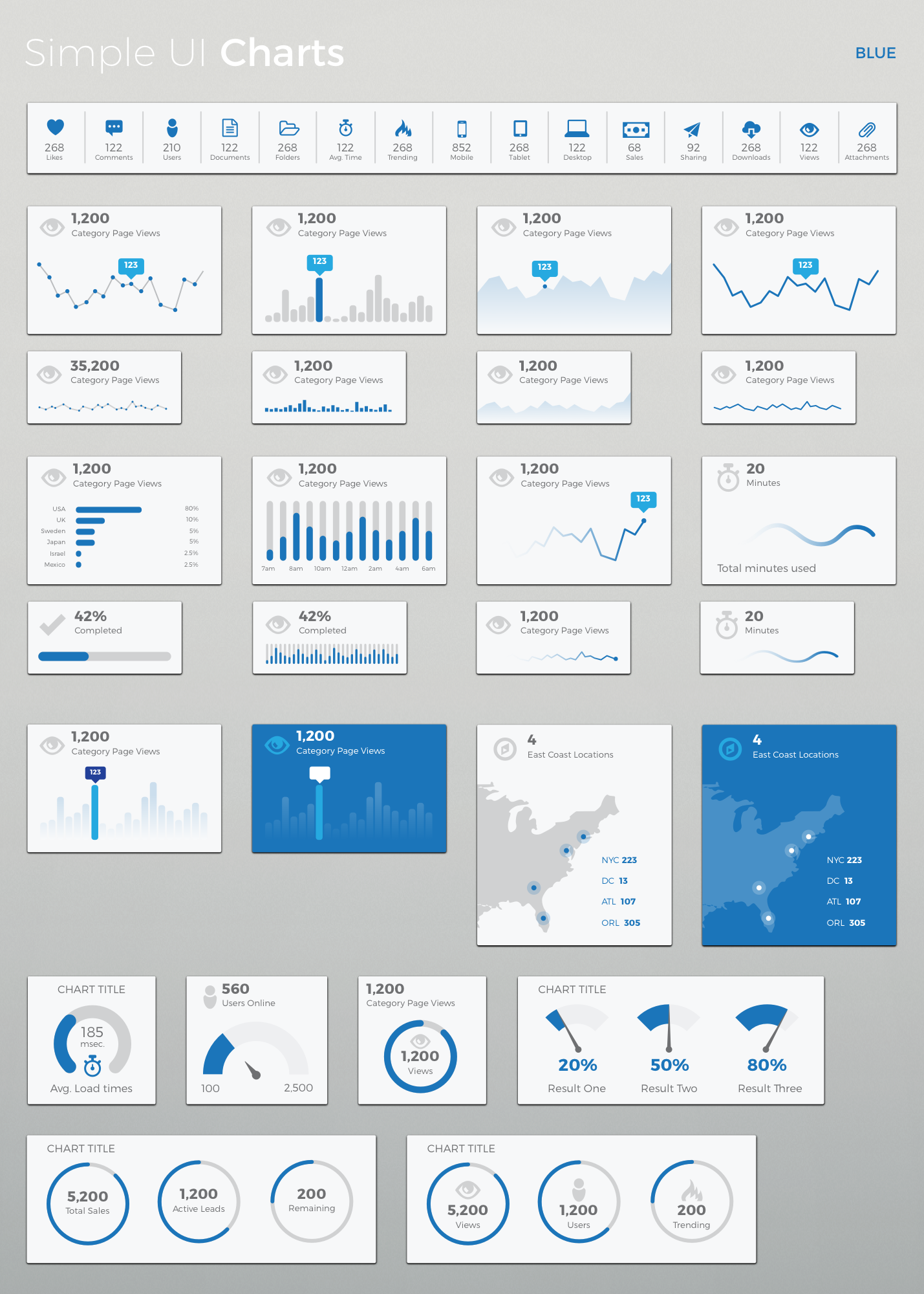 Simple UI Charts Sketch by LoudounDesignCo – Graphs and Charts Templates