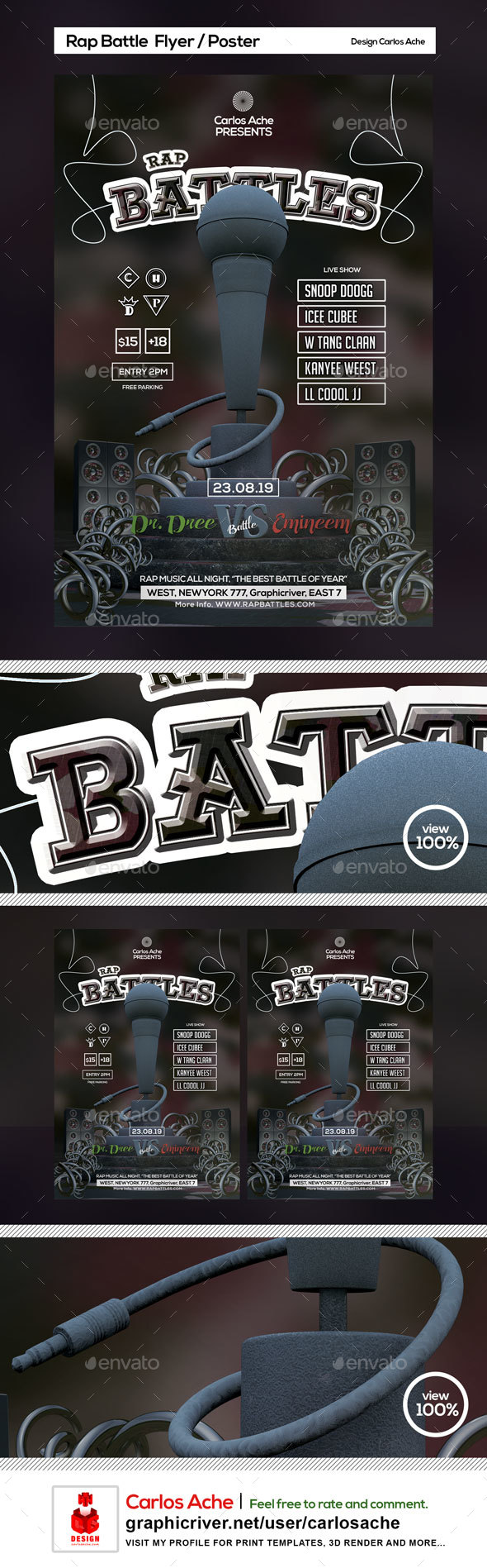 Rap Battle Flyer and Poster Template - Clubs & Parties Events