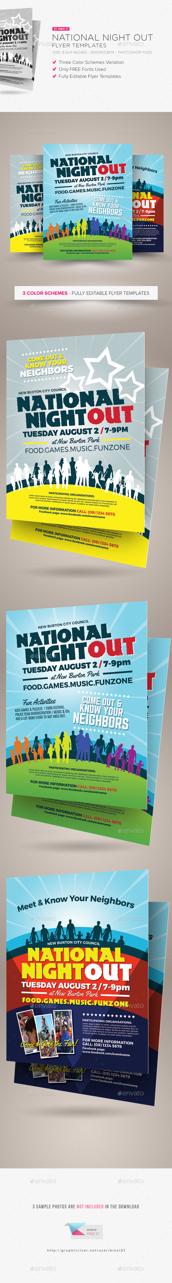National Night Out Flyer Templates By Kinzi21 Graphicriver